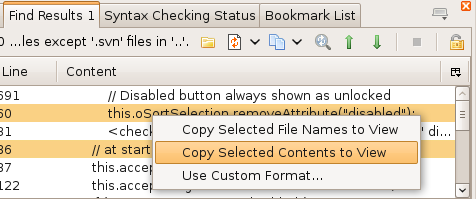 Find file results and context menu